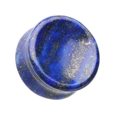 Concave Lapis Natural Stone Double Flared Ear Gauge WildKlass Plug-WildKlass Jewelry