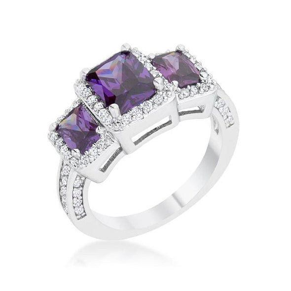 WildKlass 2.3ct Amethyst CZ Rhodium Plated Classic Trio Ring-WildKlass Jewelry