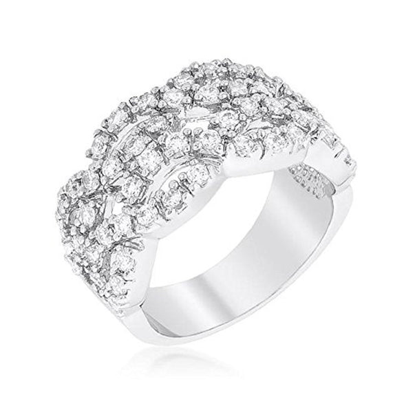 WildKlass Braided CZ Cocktail Ring-WildKlass Jewelry