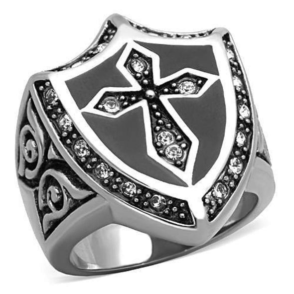 WildKlass Stainless Steel Cross Ring High Polished (no Plating) Men Top Grade Crystal Clear-WildKlass Jewelry
