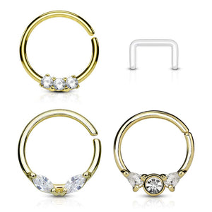 WILDKLASS 3 Pcs Value Pack Assorted Half Circle Bendable 316L Surgical Steel Nose Septum and Ear Cartilage Hoops with Free Clear Retainer-WildKlass Jewelry