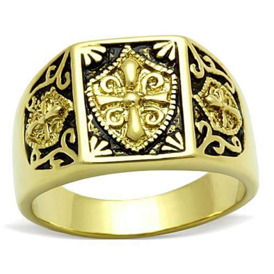 WildKlass Stainless Steel Cross Ring IP Gold Men Epoxy Jet-WildKlass Jewelry