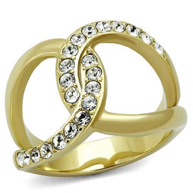 WildKlass Stainless Steel Ring Two-Tone IP Gold (Ion Plating) Women Top Grade Crystal Clear-WildKlass Jewelry