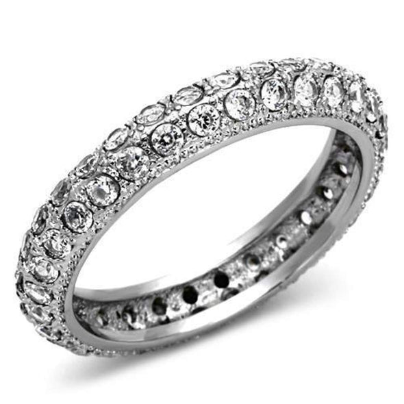 WildKlass Stainless Steel Eternity Ring High Polished (no Plating) Women AAA Grade CZ Clear-WildKlass Jewelry