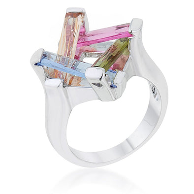 WildKlass Ring 10ct Multicolor CZ Rhodium Plated Cocktail Ring-WildKlass Jewelry