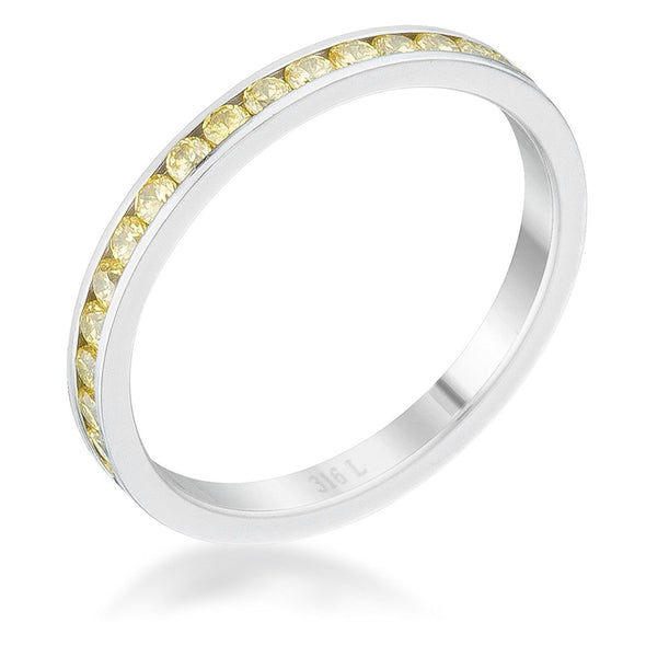 WildKlass 0.5ct Jonquil CZ Stainless Steel Eternity Band-WildKlass Jewelry