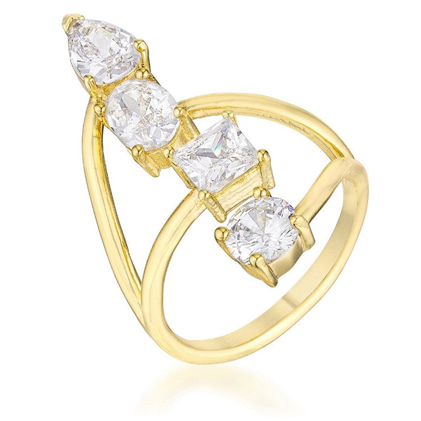 WildKlass 3CT Stunning CZ Gold ToneRing-WildKlass Jewelry