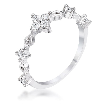 WildKlass .24Ct Rhodium Plated Clear CZ Mini Floral Half Eternity Stackable Band-WildKlass Jewelry