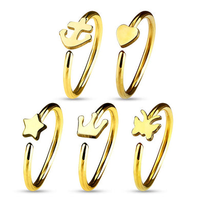 WILDKLASS 5 Pcs Value Pack IP Plated Assorted Shaped 316L Surgical Steel Hoop Ring for Nose & Ear Cartilage-WildKlass Jewelry