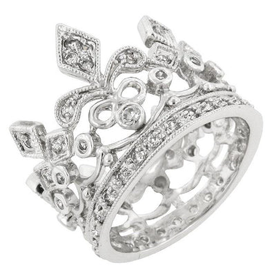 WildKlass Cubic Zirconia Crown Eternity Ring-WildKlass Jewelry
