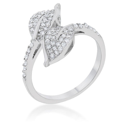 WildKlass 0.1ct CZ Rhodium Plated Leaf Wrap Ring-WildKlass Jewelry
