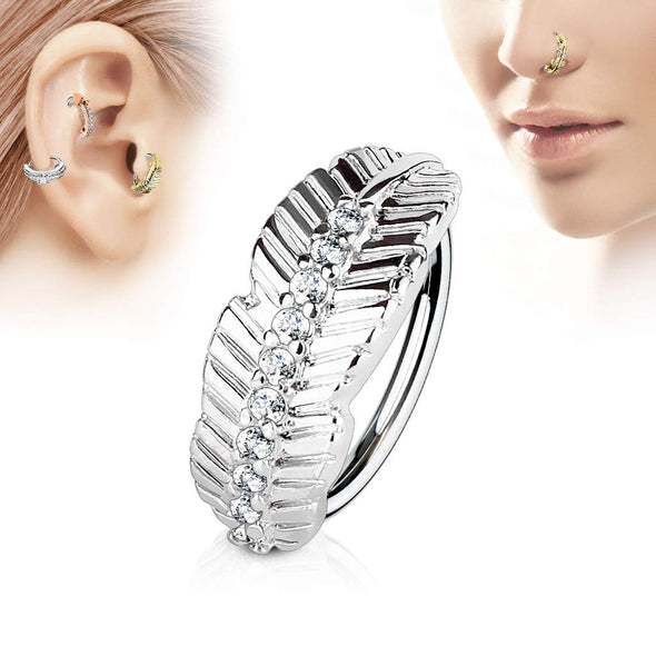 Leaf Design with CZ Paved Center 316L Surgical Steel WildKlass Nose, Cartilage Hoop Rings-WildKlass Jewelry