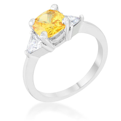 WildKlass 1.8ct Canary CZ Rhodium Plated Cushion Classic Statement Ring-WildKlass Jewelry