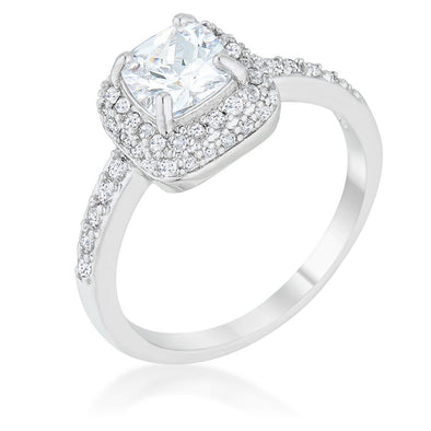 WildKlass 1.5ct Clear CZ Rhodium Plated Art Deco Ring-WildKlass Jewelry