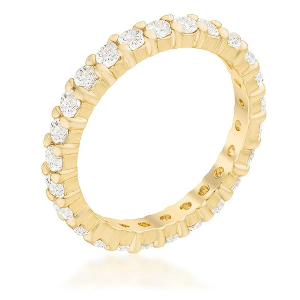 WildKlass Gold ToneCubic Zirconia Eternity Band-WildKlass Jewelry