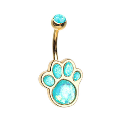 Silver & Gold Animal Lover Opal Paw Print Belly Button Ring-WildKlass Jewelry