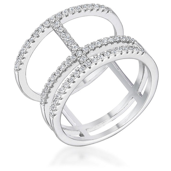 WildKlass 0.5Ct Rhodium Plated Parallel Ring with Brilliant CZ-WildKlass Jewelry