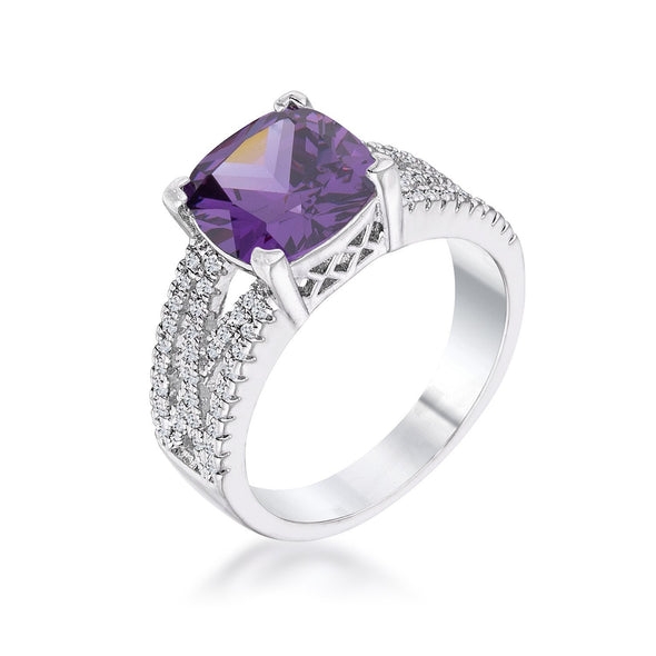 WildKlass 3Ct Elegant Silvertone Criss-Cross Amethyst Purple CZ Engagement Ring-WildKlass Jewelry