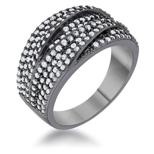 WildKlass 1.7ct Clear CZ Hematite Contemporary Cocktail Ring-WildKlass Jewelry