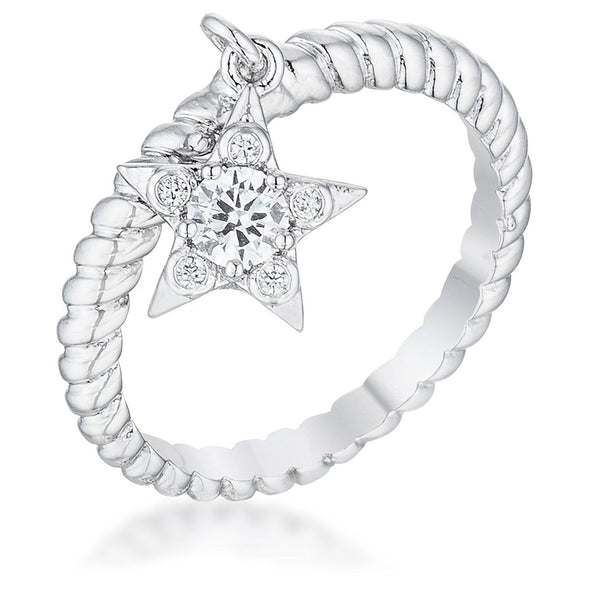 WildKlass Cubic Zirconia Star Charm Fashion Ring-WildKlass Jewelry