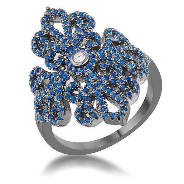 WildKlass 1.23ct Sapphire CZ Hematite Filigree Cocktail Ring-WildKlass Jewelry