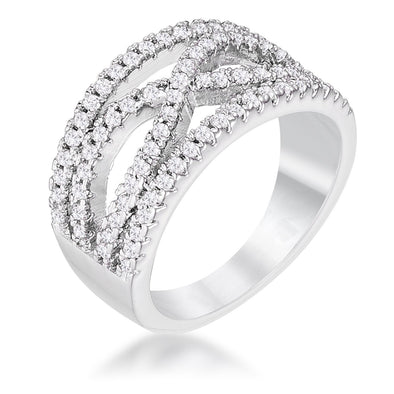 WildKlass .4Ct Rhodium Plated Classic Twist Wide CZ Ring-WildKlass Jewelry