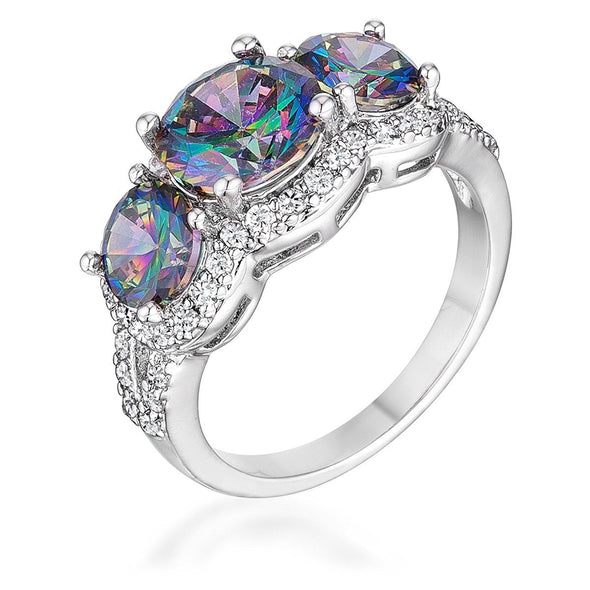 WildKlass 4 Ct Three Stone Rhodium Plated Ring with Mystic and Clear CZ-WildKlass Jewelry