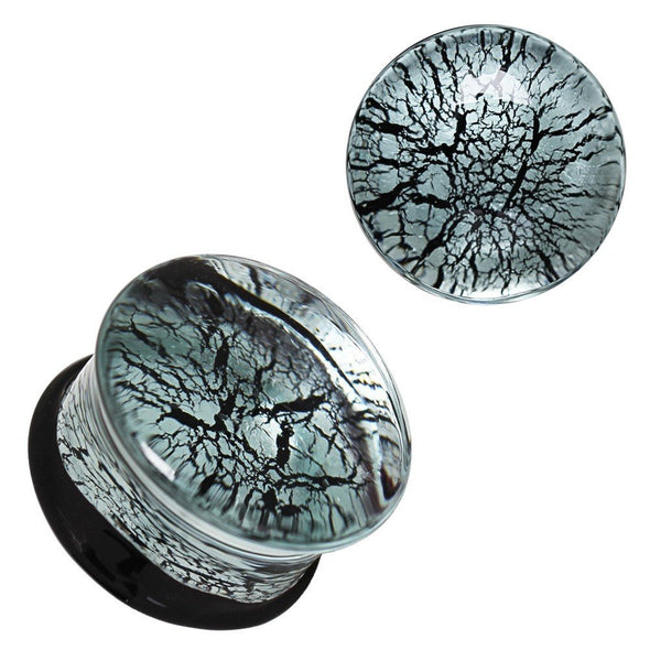 Silver and Black Glass Saddle WildKlass Plug-WildKlass Jewelry