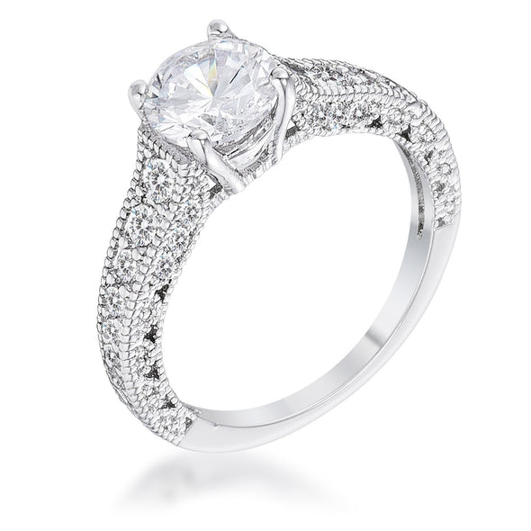 WildKlass 1.55Ct Antique Rhodium Plated CZ Pave Engagement Ring-WildKlass Jewelry