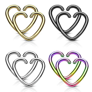WILDKLASS Value Packs 4 Pairs Plated Heart Cut Rings 316L Surgical Steel for Cartilage/Tragus/Daith and More-WildKlass Jewelry