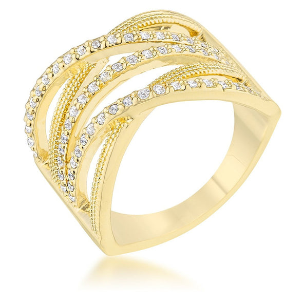 WildKlass 0.57ct CZ 14k Gold Plated Wide Cocktail Cable Ring-WildKlass Jewelry