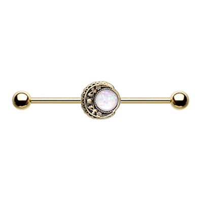 Golden & Silver Vintage Boho Filigree Moon Opal Industrial Barbell-WildKlass Jewelry