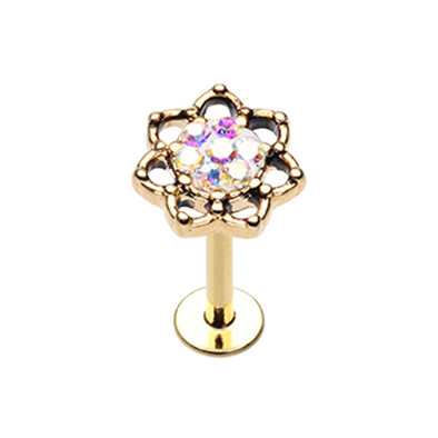Lotus Sprinkle Dot Filigree Top Steel WildKlass Labret-WildKlass Jewelry