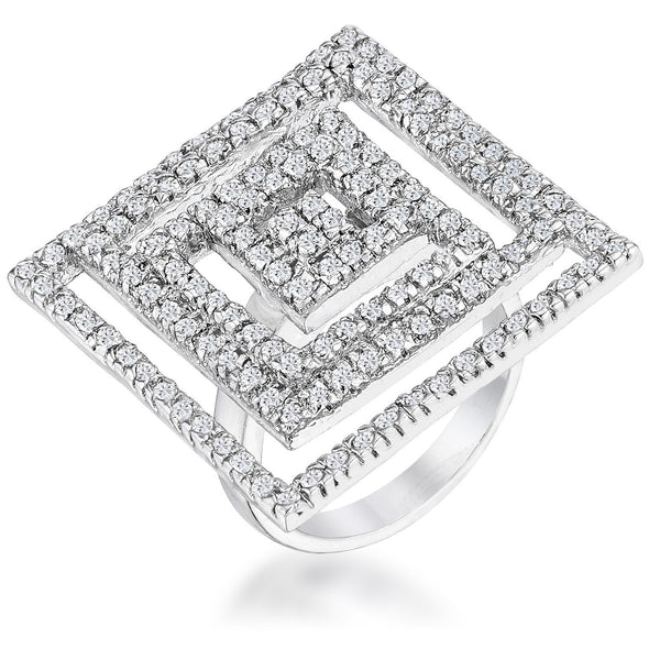 WildKlass Cubic Zirconia Maze Cocktail Ring-WildKlass Jewelry