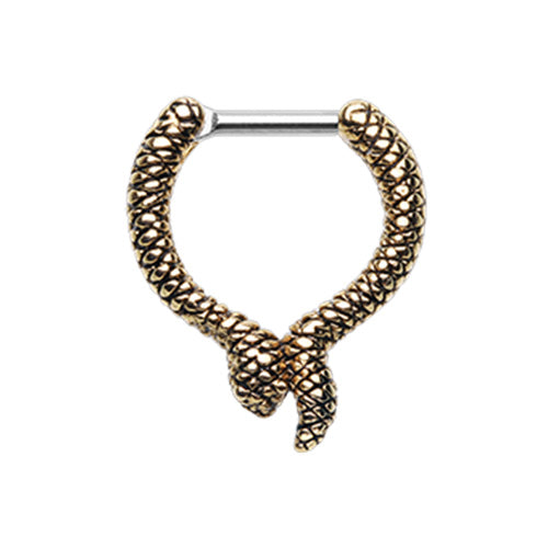 Gold Slithering Snake Septum Clicker-WildKlass Jewelry