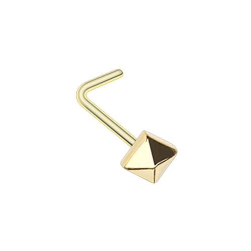 Golden & Rose Gold & Silver Pyramid L-Shape & Stud Nose Ring-WildKlass Jewelry