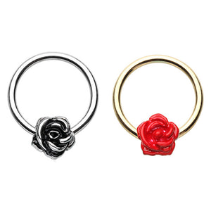 Golden Red & Silver Rose Petal Steel Captive Bead Ring-WildKlass Jewelry
