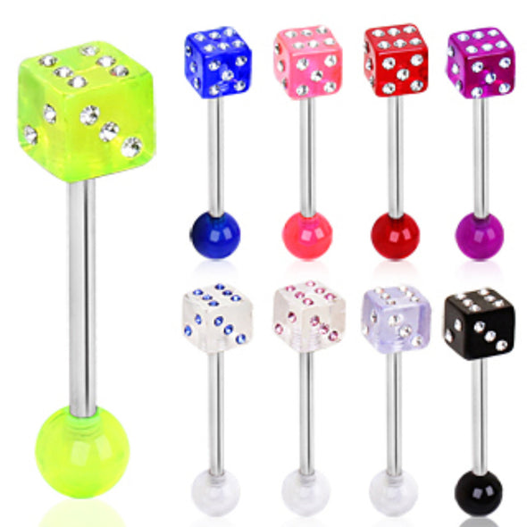 316L Surgical Steel Barbell with UV Coated Acrylic Gemmed Game Dice-WildKlass Jewelry