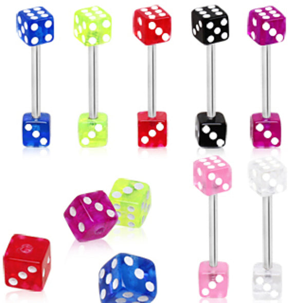 316L Surgical Steel Barbell with a UV Coated Acrylic Dice-WildKlass Jewelry