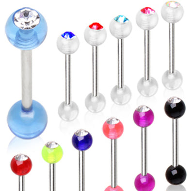 316L Surgical Steel Barbell with UV Coated Acrylic Gemmed Ball-WildKlass Jewelry