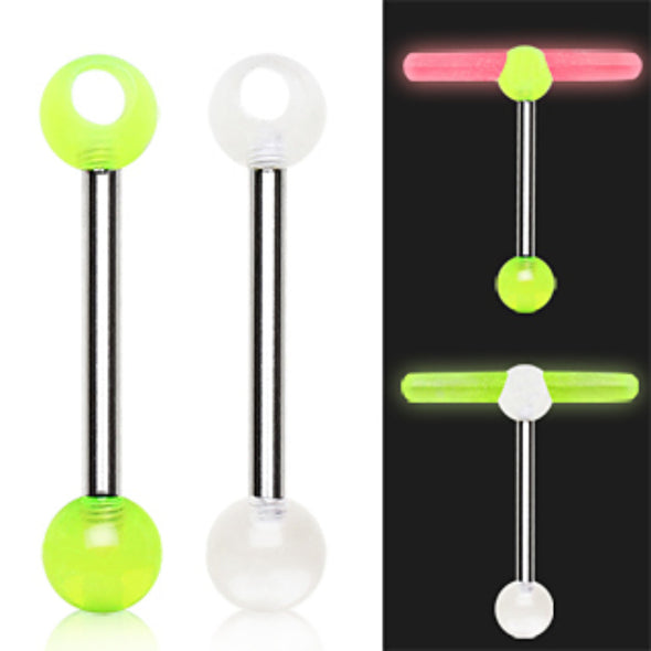 316L Surgical Steel Barbell with a UV Coated Acrylic Glowstick Holder-WildKlass Jewelry