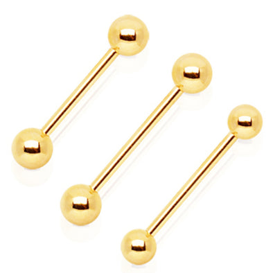 Gold Plated Barbell with One Gem Ball-WildKlass Jewelry