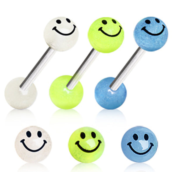 316L Surgical Steel Barbell with Glow in the Dark Smiley Face Balls-WildKlass Jewelry