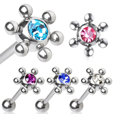 316L Surgical Steel Barbell One Ball Gem Fitted 6 Steel Balls-WildKlass Jewelry
