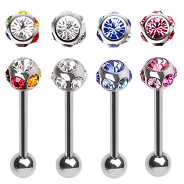 316L Surgical Steel Barbell with Multi Gem Ball-WildKlass Jewelry