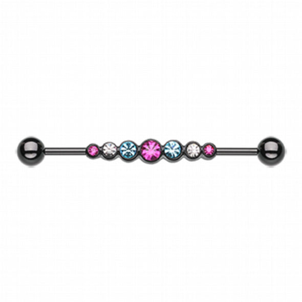 Blackline PVD Dazzling Gem Row Industrial Barbell-WildKlass Jewelry