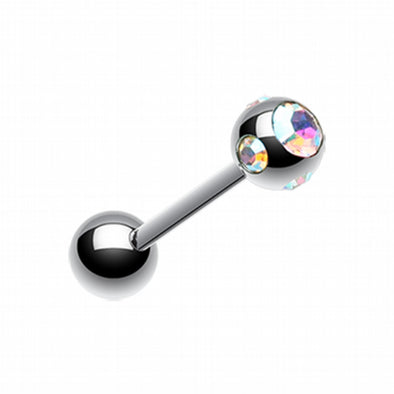 Aurora Gem Ball Steel Barbell Tongue Ring-WildKlass Jewelry