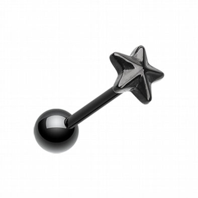 Blackline PVD Nautical Star Top Steel Barbell Tongue Ring-WildKlass Jewelry