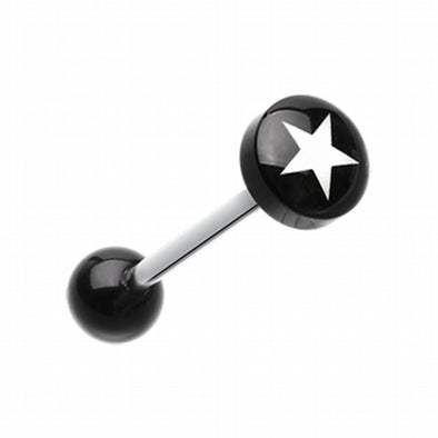 Star Eri Logo Acrylic Barbell Tongue Ring-WildKlass Jewelry