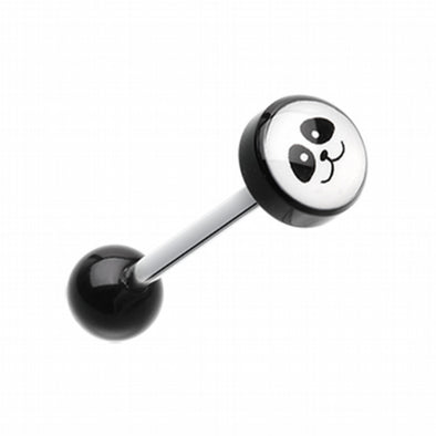 Panda Face Logo Acrylic Barbell Tongue Ring-WildKlass Jewelry